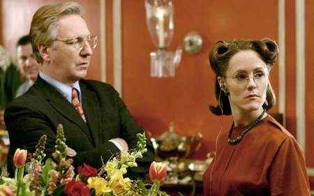 Alfred Blalock (Alan Rickman) and Helen Taussig (Mary Stuart Masterson) in HBO's Something the Lord Made