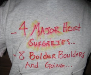 The back of Eliza's 2008 Bolder Boulder shirt